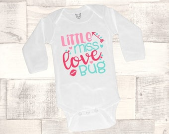 Baby Girl Valentine Outfit, Valentine Bodysuit, Little Miss Love Bug Bodysuit, XOXO, Girls, Babys Valentine Outfit, Mommy's Love Bug