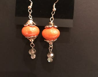 Orange and crystal drops