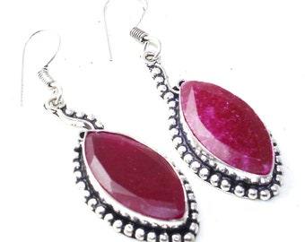 Vintage silver and Ruby Earrings, Bohemian earrings, earrings boho-chic. Ruby earrings handmade