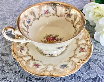 Vintage Tirschenreuth Teacup and Saucer. Bavaria Teacup and Saucer