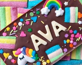 Unicorn chocolate ~ personalised chocolate bar