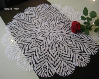 Crochet doily Napkin crochet Open-work napkin crochet Knitted tablecloth White crochet doily Lace doilies Round doily Gift to friends, 20 in