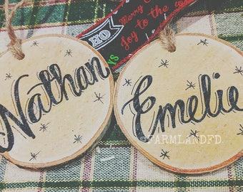 Our First Christmas  Personalized Wood Ornament, Engagement Gift, Holiday Engagement,