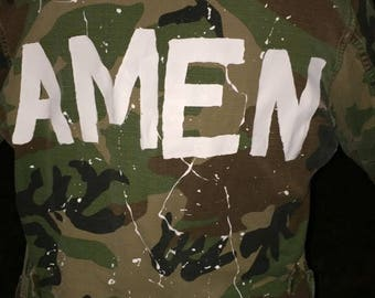 Camo hand painted jacket AMEN