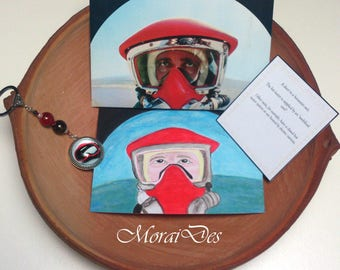 Card Diver-dyed-Acrylic paint-Scuba diver envelope-diver keychain-ocean enthusiast-history lovers