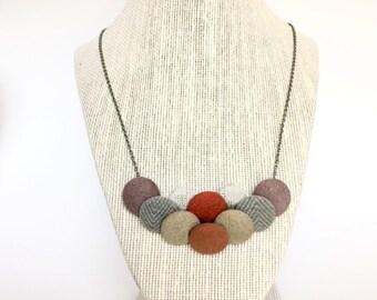 Vintage Fabric Button Necklace, Bib Button Necklace, Cloth Necklace,