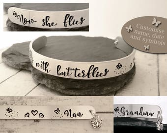 Now she flies with butterflies Grandma Nan custom name hand stamped metal cuff bracelet