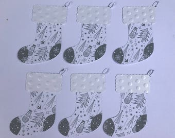 6 Christmas/Stockings Die Cuts White, Gray, Embossed 2 Layers, Embellishments, Scrapbooking, Card Making, Home Party Decor