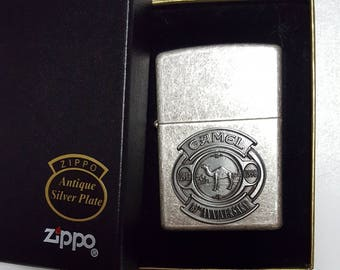1997 Camel 85th Anniversary Pewter on Antique Silver Zippo Lighter Sealed