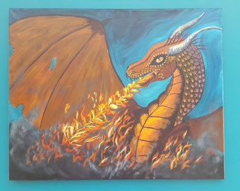 Fire and Wings Dragon painting