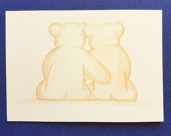 Watercolour postcard / greeting card bear love