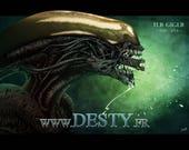 Alien with spot varnish poster [Illustration:] Monster]