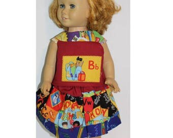 "School Days. Clothes that fit 20"" tall Vintage Chatty Cathy Sized Dolls. Skirt & Top.  Back to School Clothes. Handmade in USA."