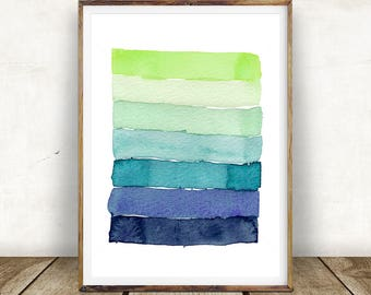 Blue Green Abstract Print, Watercolour Wall Art, Brush Stroke Modern Minimalist Painting, Printable Digital Download, Large Poster Print