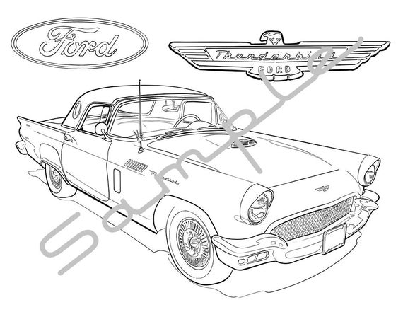 1957 ford thunderbird adult coloring page printable coloring