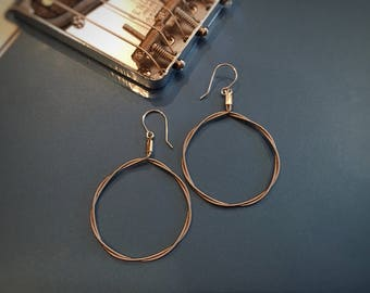 Large Wrapped Hoop Guitar String Earrings