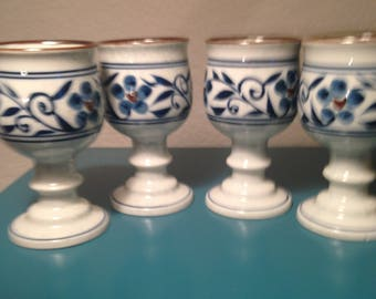 Gorgeous set of 4 pottery goblets