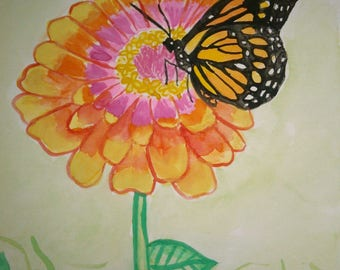 Butterfly and flowers Original 9X6 watercolor painting
