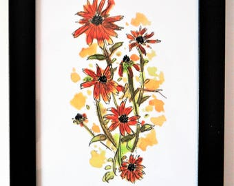 Black-Eyed Susans - 5x7 Giclee Print of Watercolor Art