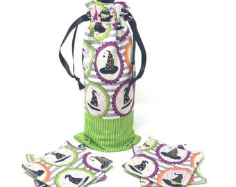 Witch Wine Bag with Fabric Coasters | Wine Gift Baskets | Best Wine Gifts | Best Hostess Gifts | Wine Bottle Bag | Wine Bottle Decor