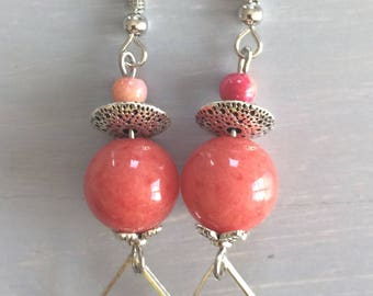 Coral Jade with charm dangle earrings