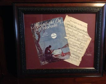 Framed vintage sheet music
