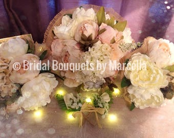 Vintage Shabby Chic Bridal Bouquet Package