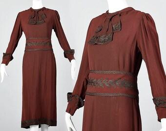 Medium 1920s Dress Long Sleeves Prohibition Era Jazz Age Dress Vintage 1920s 20s Art Deco Boardwalk Empire