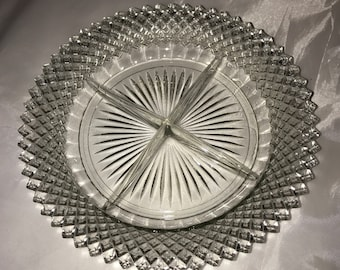 Anchor Hocking Miss America Clear Divided Relish Tray