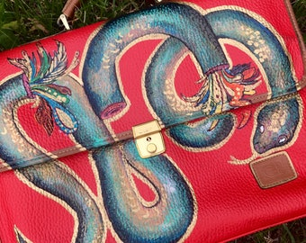 Hand painted, genuine leather messenger bag/ laptop carrying case.