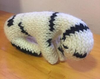 Hand Knitted, Pure wool Zebra