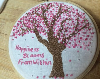Embroidered Hoop - Cherry Blossom Tree