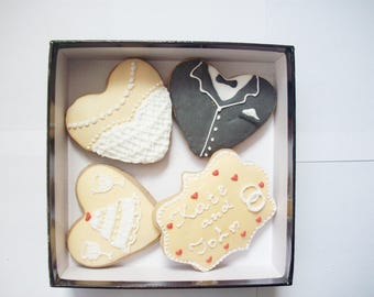 Set of decorated cookies, wedding gift