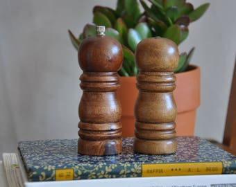Wooden salt and pepper cellars - mid century/vintage