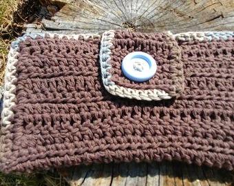 Crochet football diaper/wipes holder