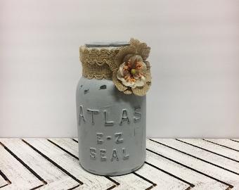 Upcycled vintage mason jar,hand painted gray mason jar,quart mason jar utensil holder,distressed/rustic mason jars for the kitchen,graydecor