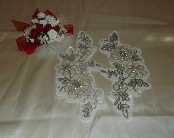 Silver/Pearl/Rhinestone Flower Pieces