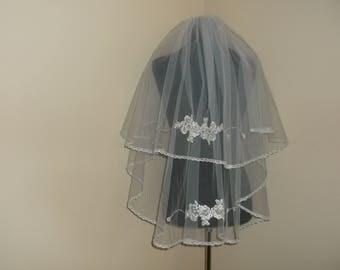Ivory 2 Tier Silver/Rhinestone Beaded Wedding Veil