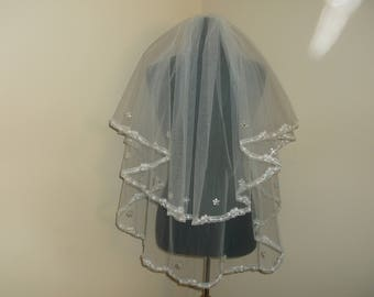 Ivory 2 Tier Rhinestone/Sequin Beaded Lace Wedding Veil