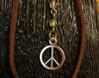 Boho Leather Peace Anklet