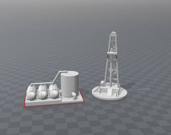 Drill tower derrick and refinery storage tanks