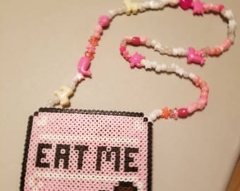 Eat Me Necklace: Alice In Wonderland Eat Me perler and Pony Bead Necklace