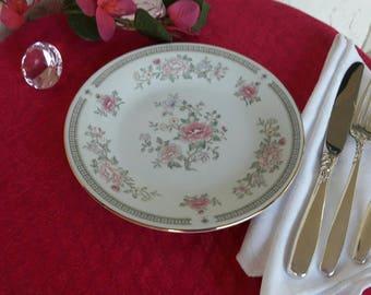 Kensington Gardena 2 Bread and Butter Plates Pattern #1560 International Porcelain Pink Floral