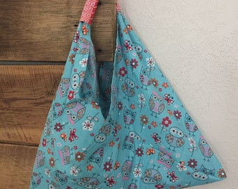 Triangle Market Bag - blue, orange, owls
