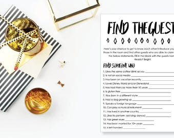 Find the Guest Game. Instant Download. Printable Ice Breaker Game. Neutral. - 04