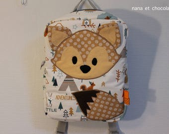 Sac à dos enfant, sac d'école, sac à dos maternelle, sac renard, marron, sac à dos renard, pour l'école, sac garçon, brodé, sur commande