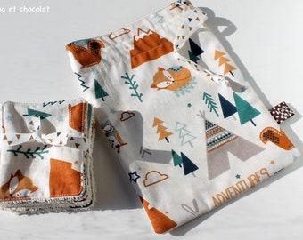 lot de Lingettes lavables bébé et pochette de rangement, lingettes démaquillantes, kit de toilette, pochon en coton, beige, tipi, renard