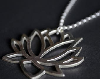 Silver Lotus Flower Pendant Necklace - Large - Sterling Silver - Handmade Necklace