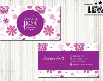 PERSONALIZED Perfectly Posh Business Cards, Perfectly Posh Style Card, Printable Digital Printed, Personalized Cards PH04