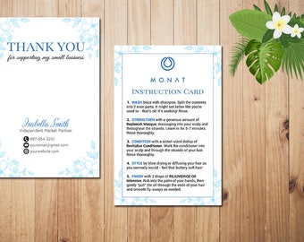 PERSONALIZED Monat Care Instruction, Monat Care Card, Monat Thank you card, Fast Free Personalization, Custom Monat Hair Care Card MN10